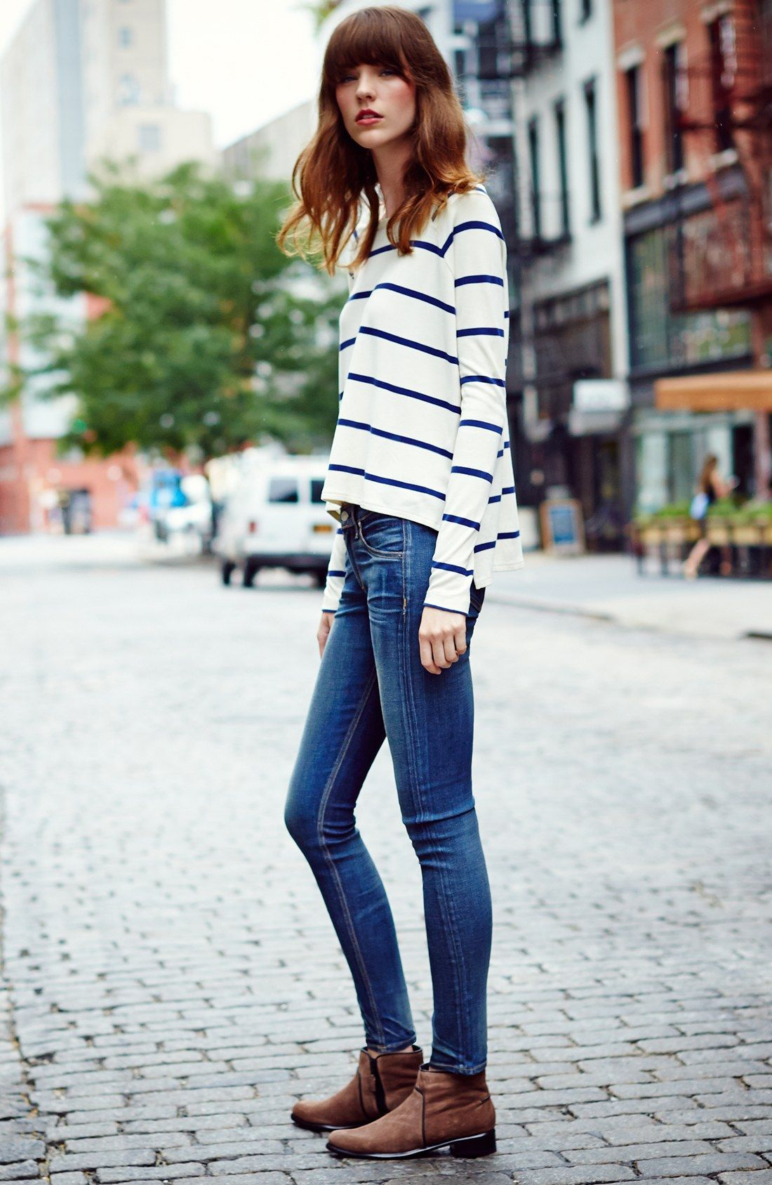 striped tee skinny stretch jeans and ankle boots