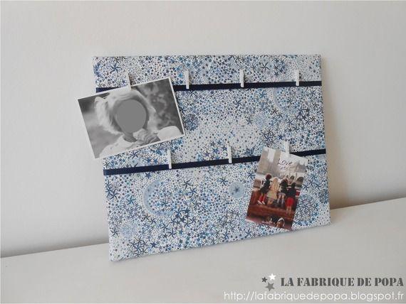 Pêle-mêle Liberty Adelajda bleu étoiles ruban bleu marine décoration enfant bébé fille garçon