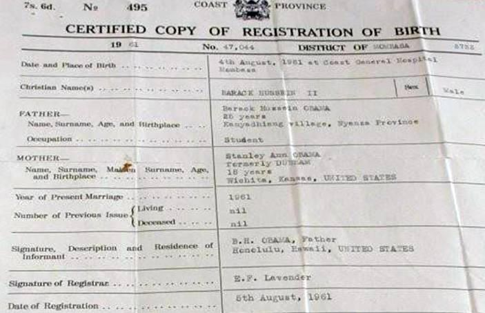 BARACK OBAMA\u0027S KENYAN BIRTH CERTIFICATE and Baby Foot print News