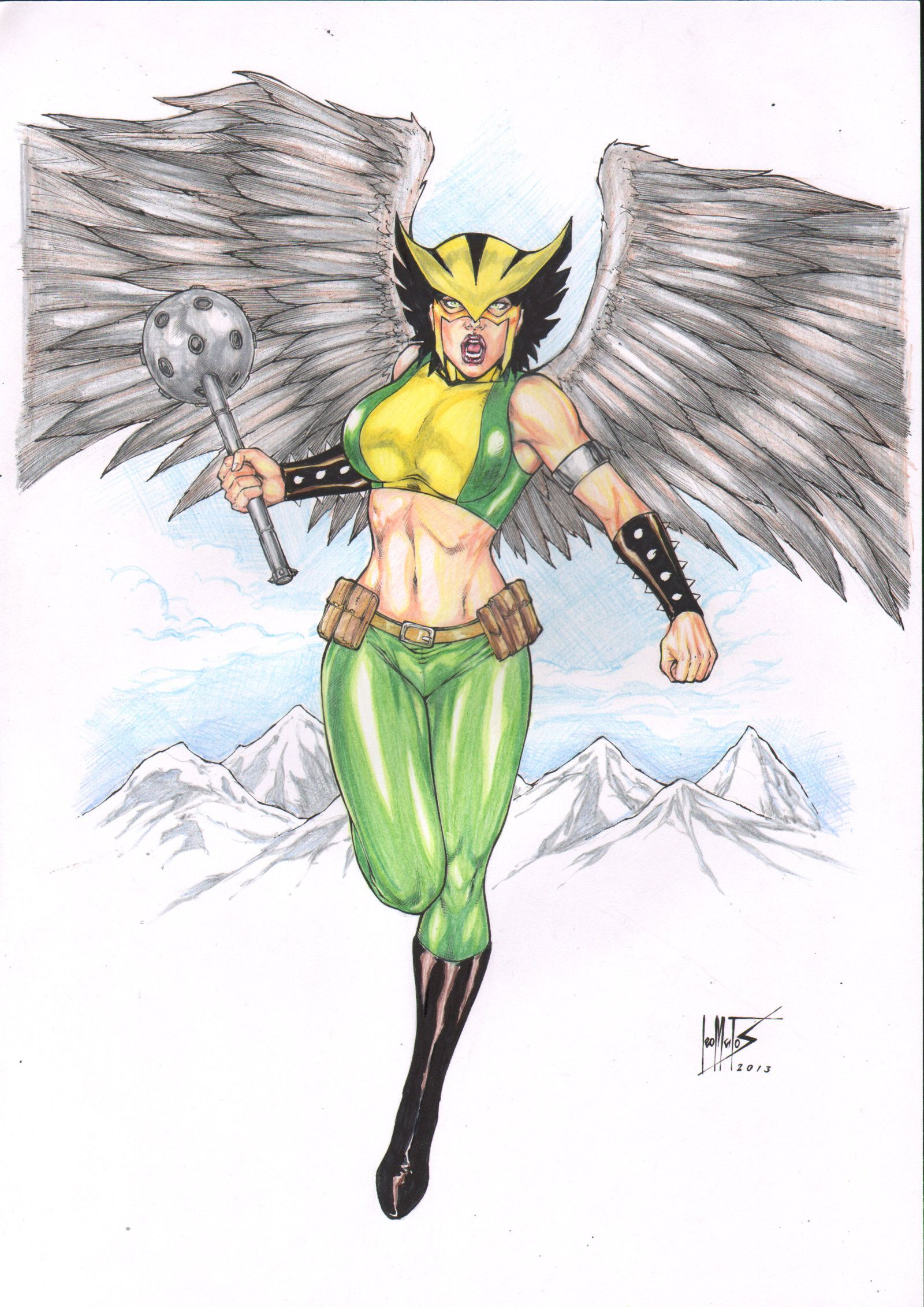 hawkgirl color by leo matos by ed benes studio deviantart com