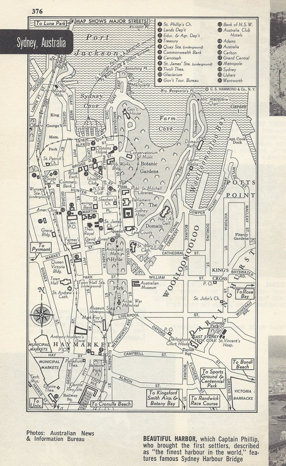 Sydney Australia Map City.Sydney Australia Map City Map Street Map 1950s Black And White