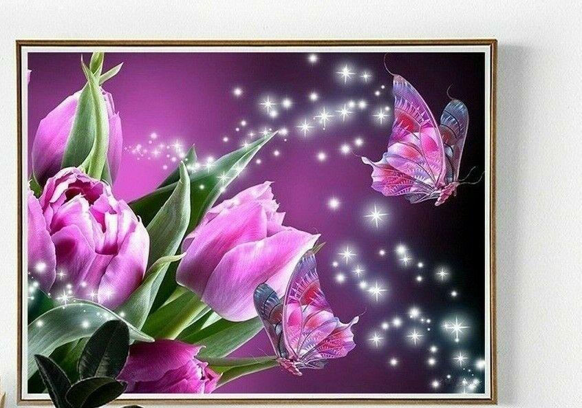 DOTS 5D FULL DRILL VIBRANT FLOWERS /& BUTTERFLY  30CMX40CM DIAMOND PAINTING