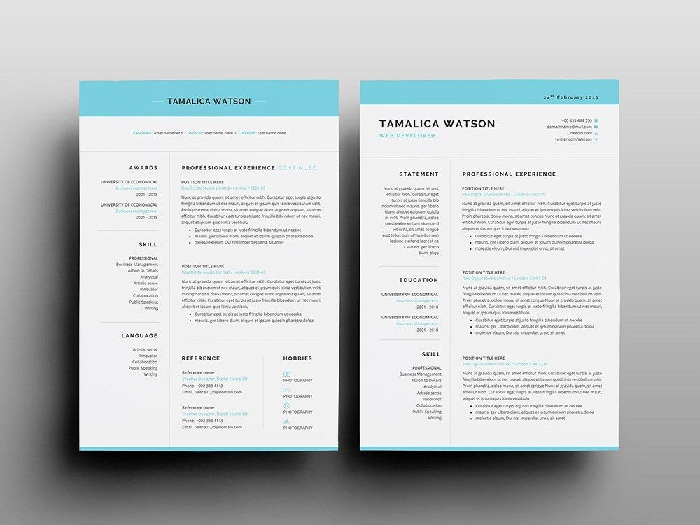 Tamalica Watson Resume Free Word Resume With Matching Cover Letter Resume Template Resume Template Free Resume Cv