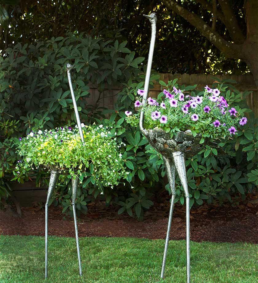 Garden Art Sculpture: Recycled Metal Ostrich Plant Holders