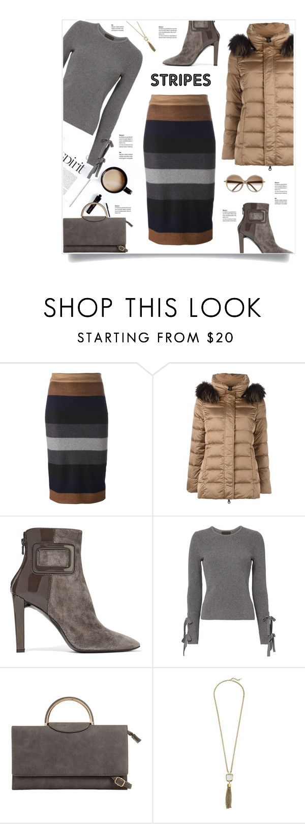 """""""Max Mara Striped Skirt"""" by kiki-bi ❤ liked on Polyvore featuring MaxMara, Hetregó, Roger Vivier, Exclusive for Intermix, Cole Haan and Chloé"""