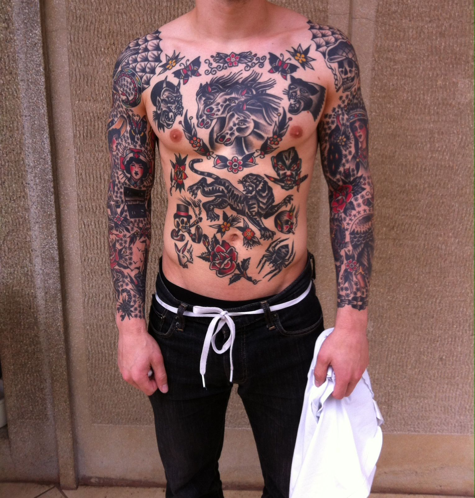 Tattoostraditional On Pinterest: Large Traditional Back Tattoo - Google Search
