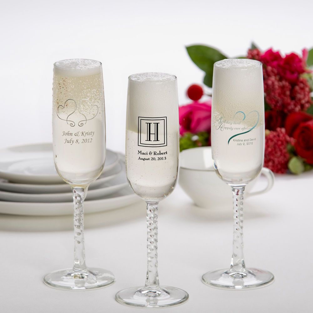 24 pc Personalized Champagne Flute Set Wedding Favors Toasting Glass ...