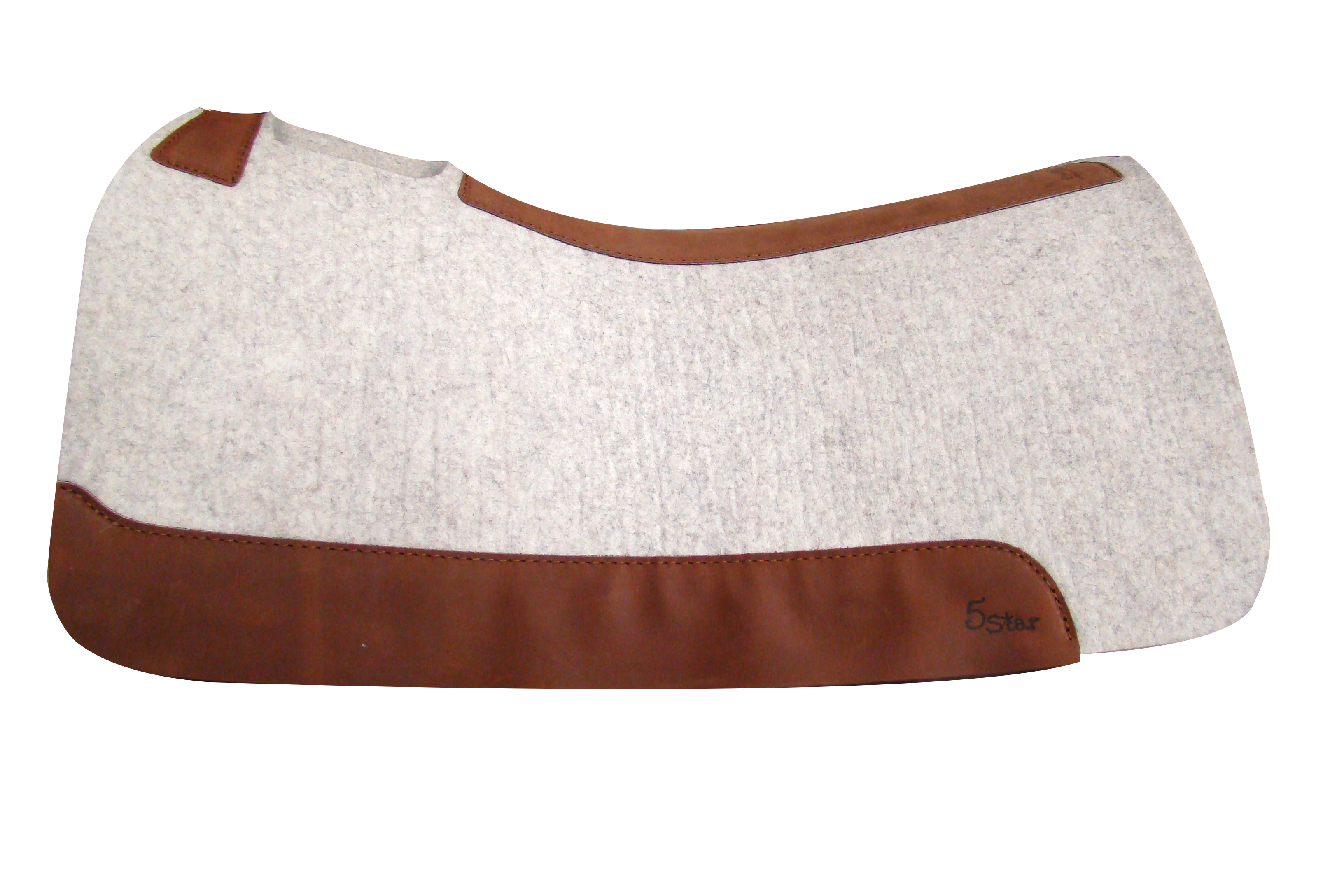 The All Around Saddle Pad in Natural.             5 Star contoured western saddle pads are top quality, pressed, high density 100% WOOL FELT is the base pad component, with 5-6 oz. wear leathers on the sides and top line. This wool felt is manufactured to strict specifications, using the highest quality virgin wool (90%), blended with re-combed wool (10%) which allows for the highest degree of protection and economic benefit.