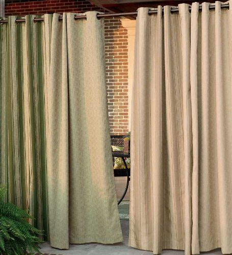 95 L Olefin Outdoor Grommet Top Curtain Panel In Green Stripe By