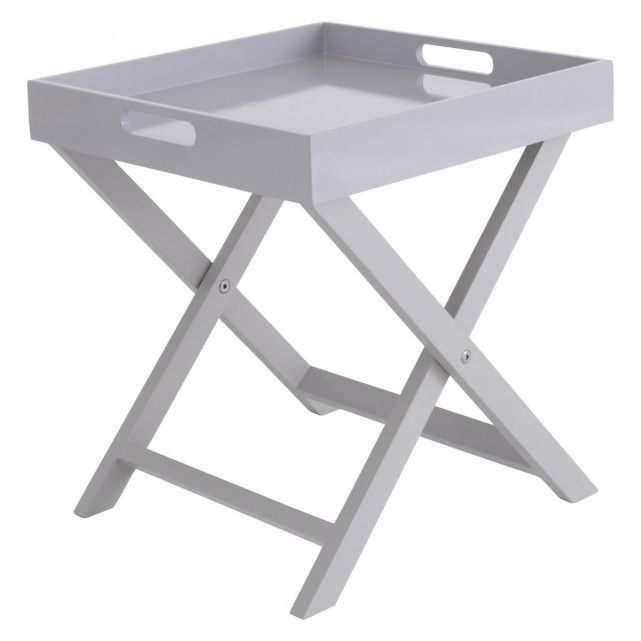 Oken Grey Folding Side Table With Removable Tray Top Spare Bedroom Grey Side Table