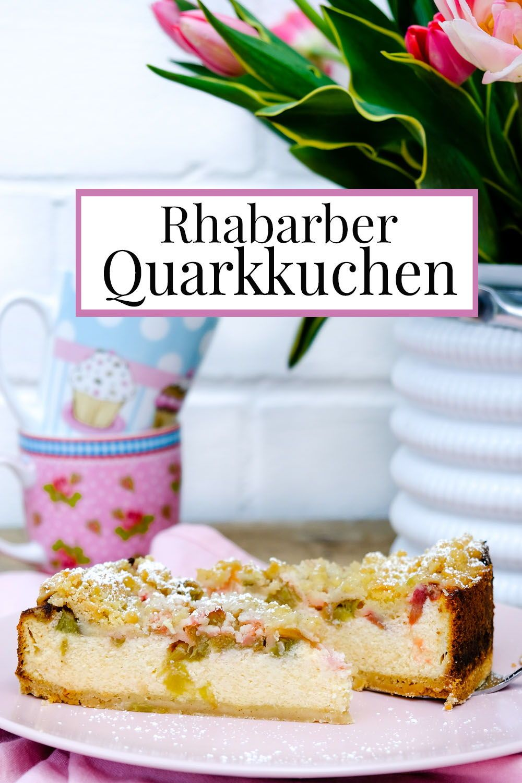 Rhabarber Quarkkuchen mit Streuseln | Rezept mit und ohne Thermomix.