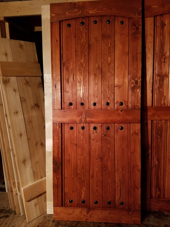 Arched mid bar barn door sliding wood door barn door