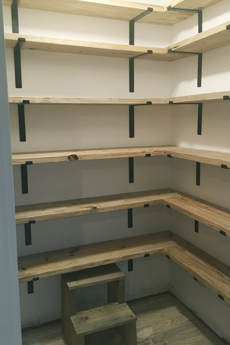 DIY Organized Walk In Modern Farmhouse Butler's Pantry Makeover With Floating Shelves - Using Crate & Pallet, Home Depot Brackets