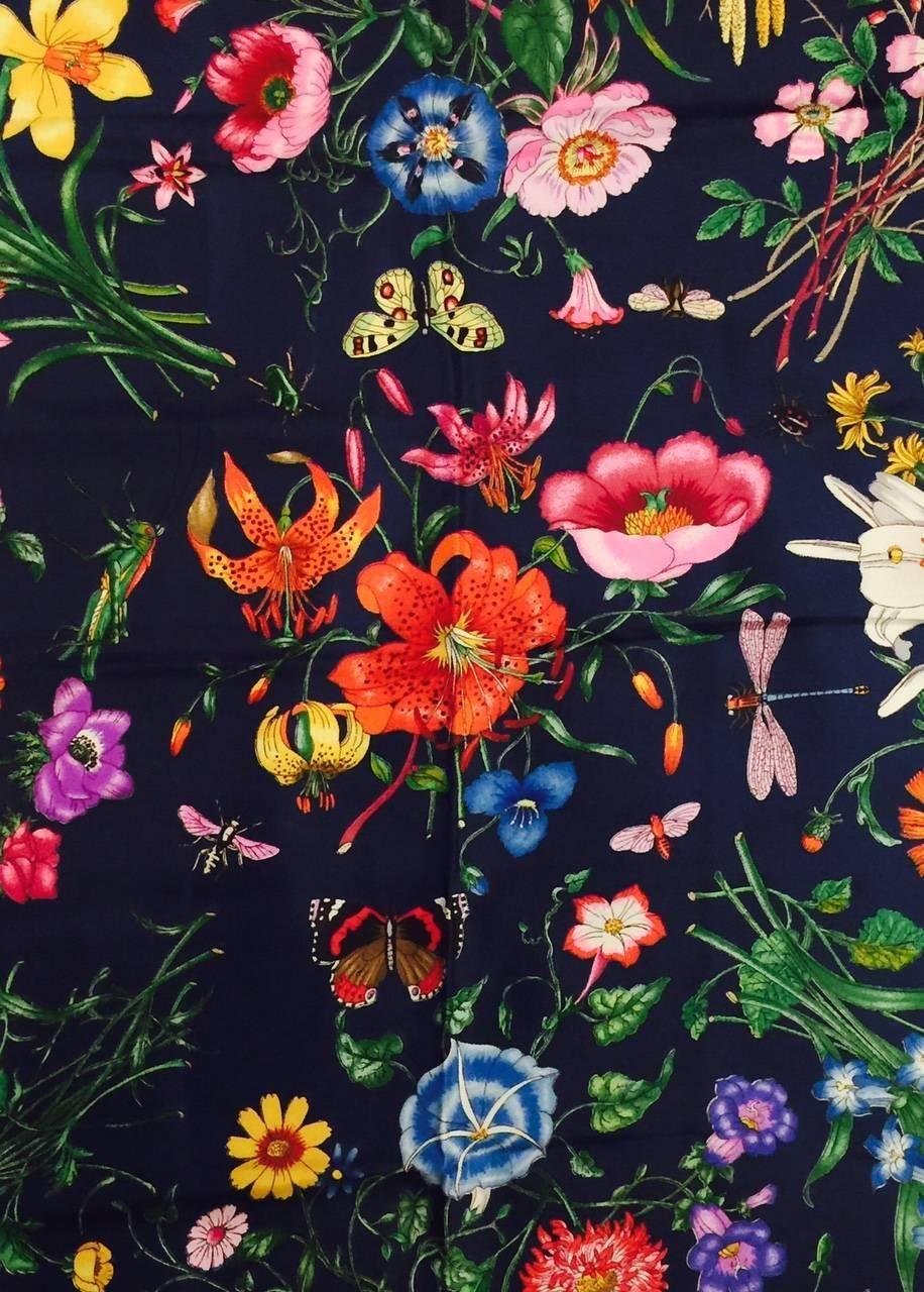 388858f1f51 Gucci Navy Silk Twill Scarf With Garden Floral Motif