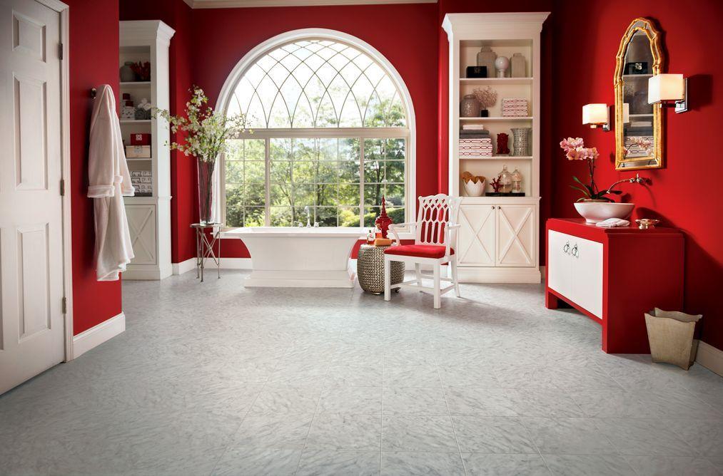 Armstrong Luxury Vinyl Tile | LVT | Carrera Marble Gray | Bathroom Ideas