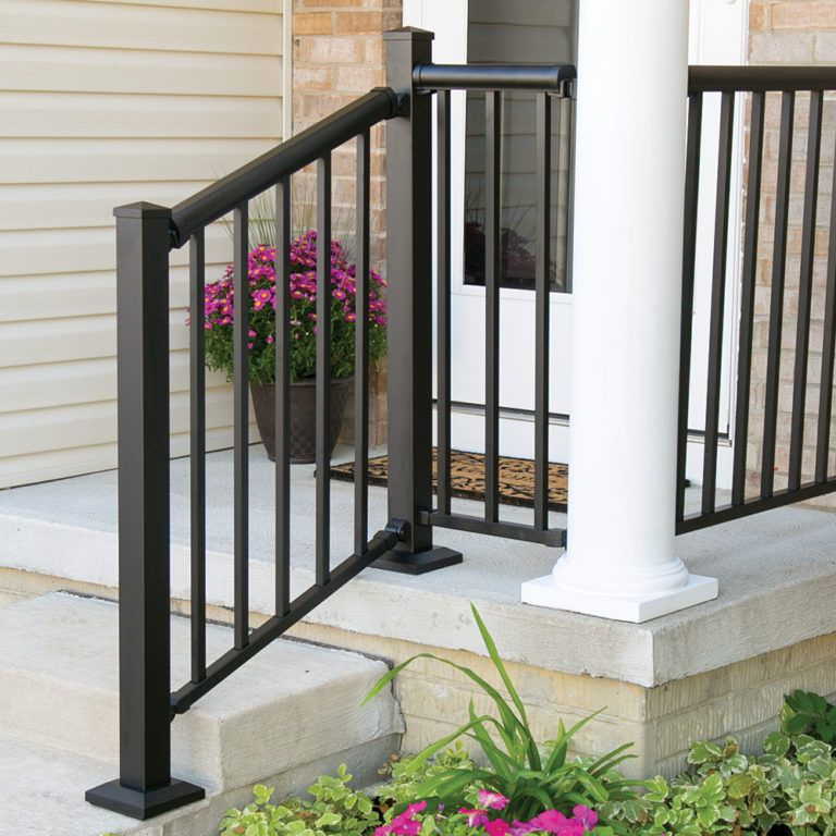 Aluminum Rail Freedom Outdoor Stair Railing Railings Outdoor | Lowes Exterior Handrails For Steps | Concrete | Aluminum Handrail Kit | Deck Stair | Wrought Iron | Baluster