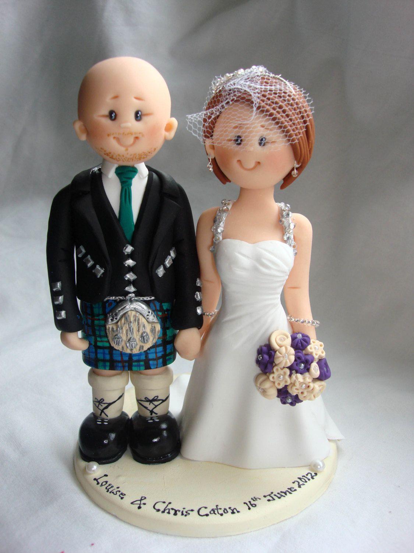 Scottish Groom In Tartan Kilt Wedding Cake Topper Custom