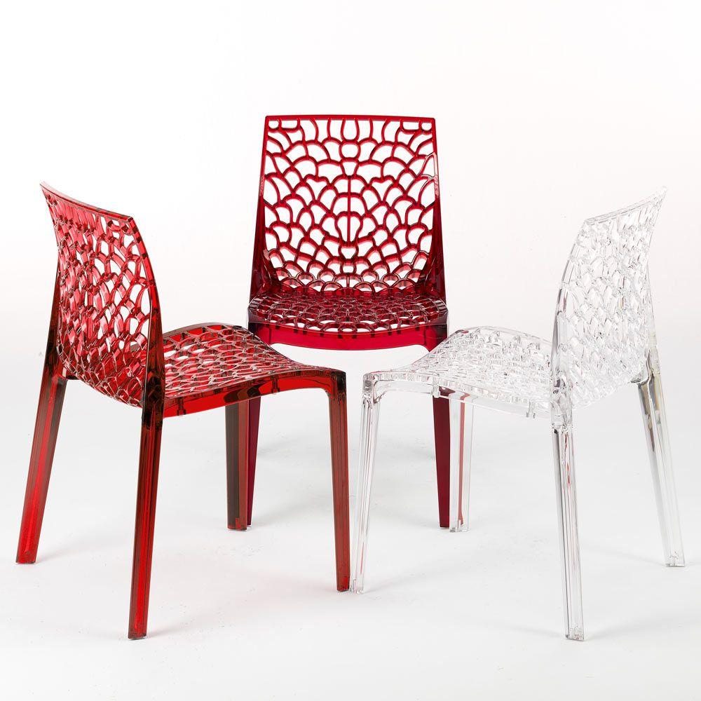 Grand Soleil Gruvyer St Uuml Hle Plastik Poliweglan Stapelbar 16 Stk Farbe Transparent Ruby Red Chaise Transparente Chaise Deco Interieure