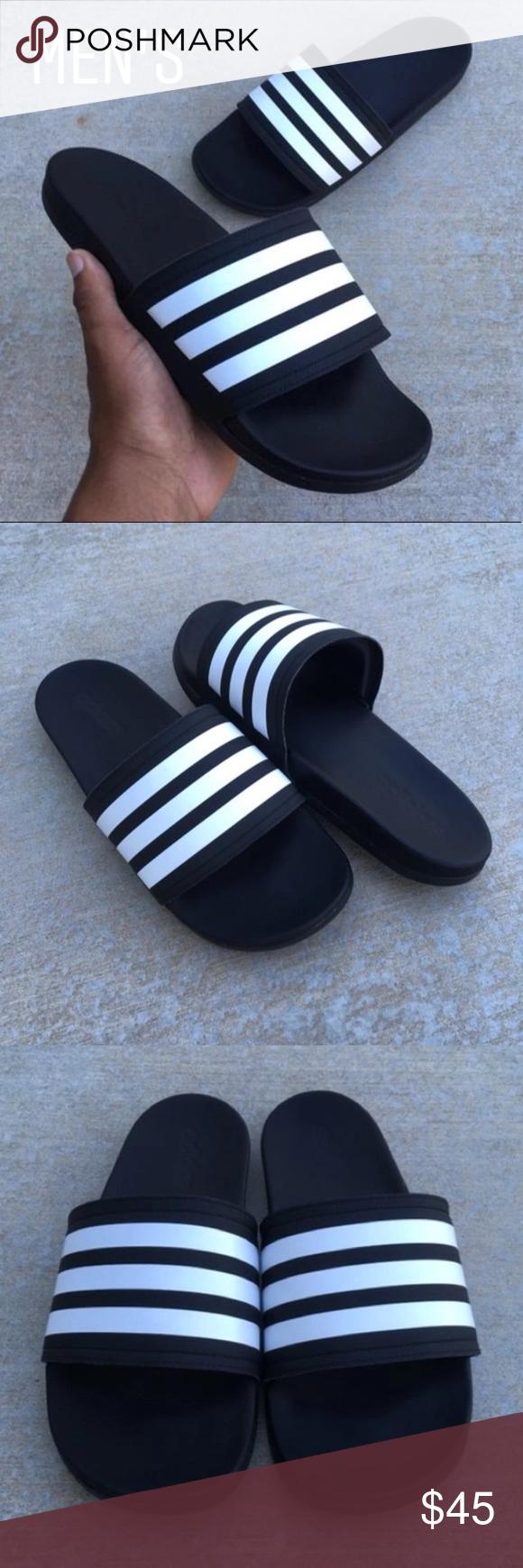 da412d764595 MENS BLK ADIDAS ADILETTE CLOUDFOAM STRIPES SLIDE Men Adidas Adilette  Comfort Cloud Foam Slides Sandal Black