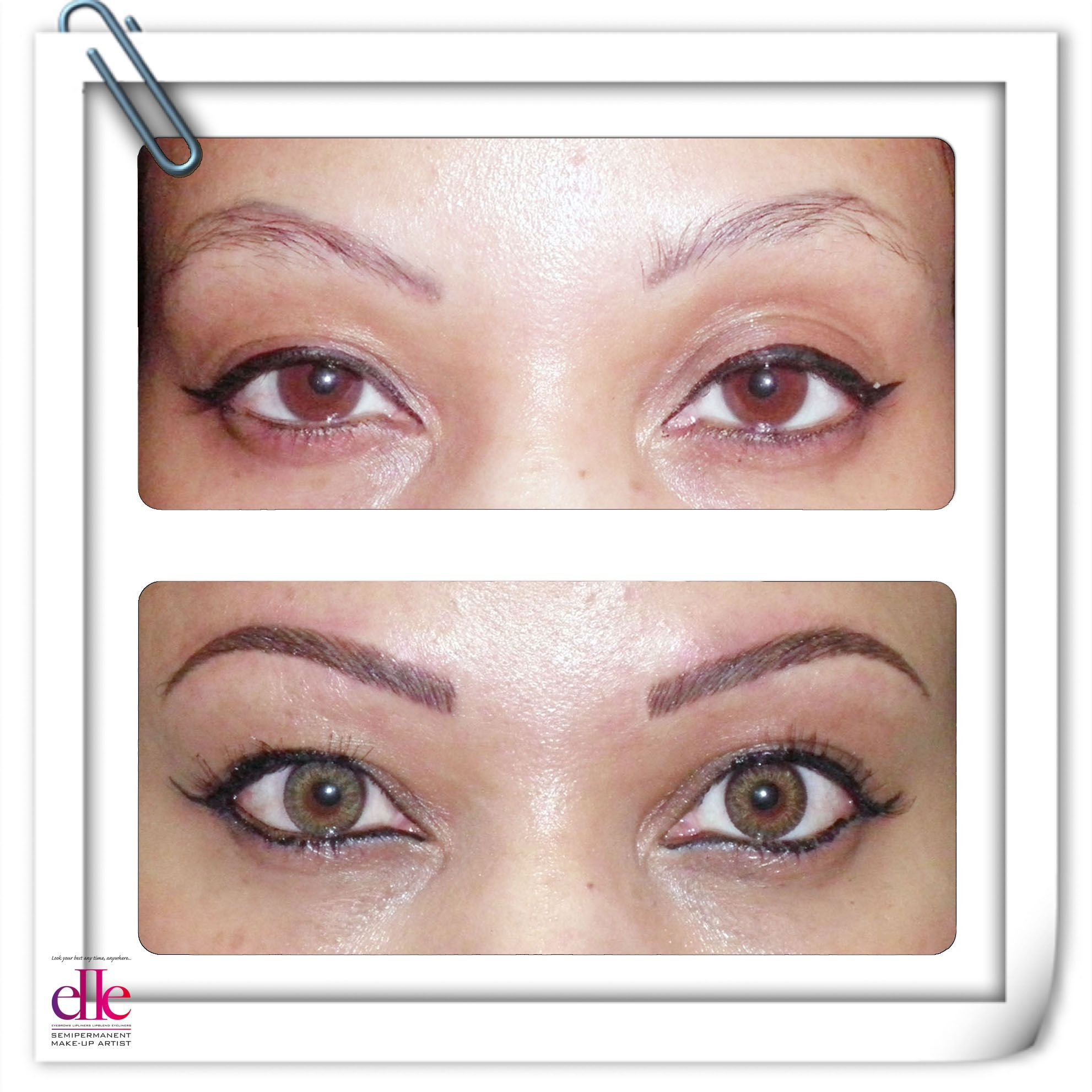 BEFORE and AFTER. Faded semipermanent makeup has been