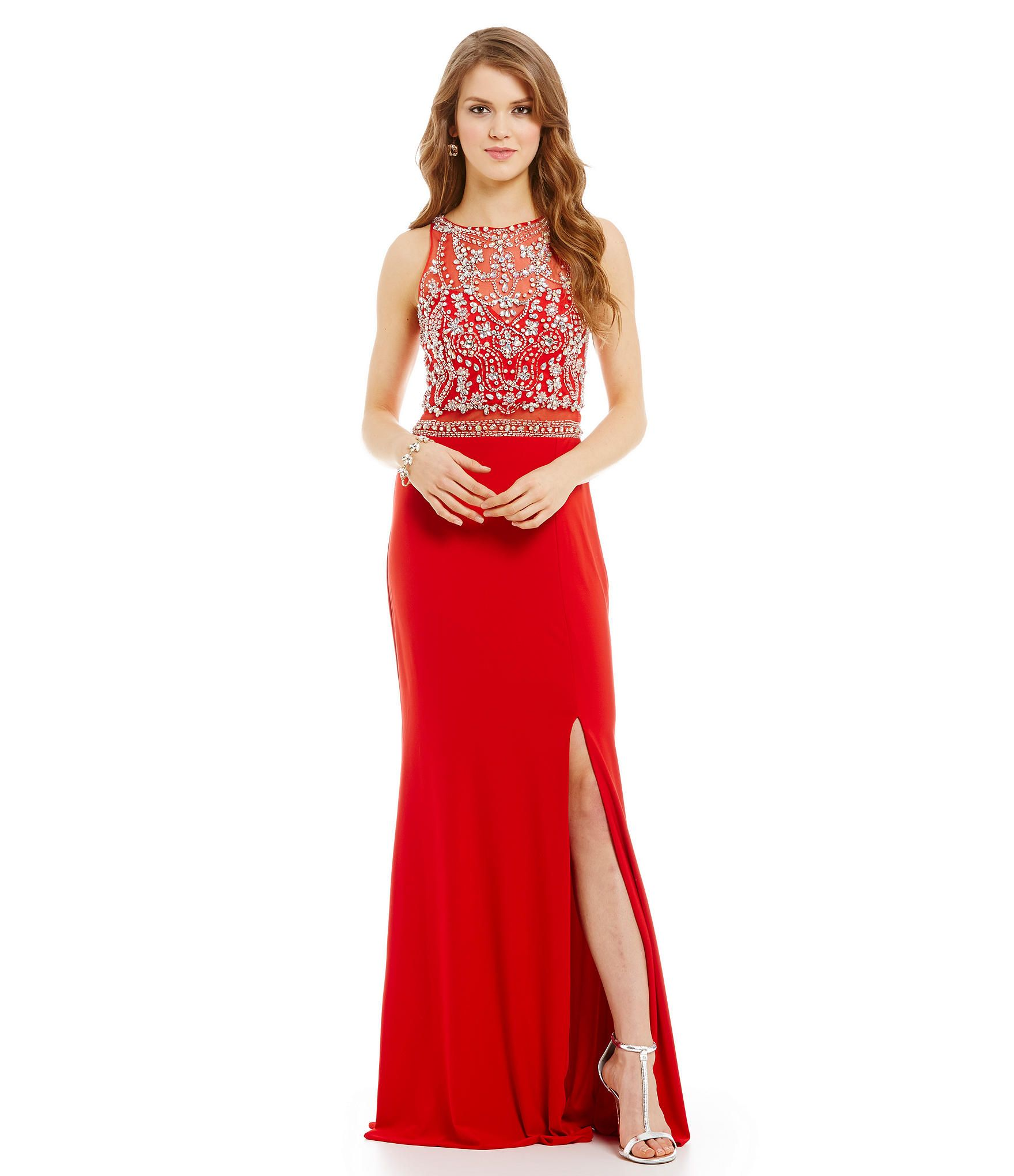 Coya collection beaded illusion bodice mock 2piece gown