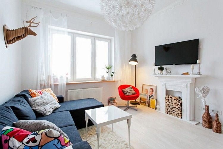 Kaminumrandung Deko Idee Skandinavisch Brennholz Wohnzimmer