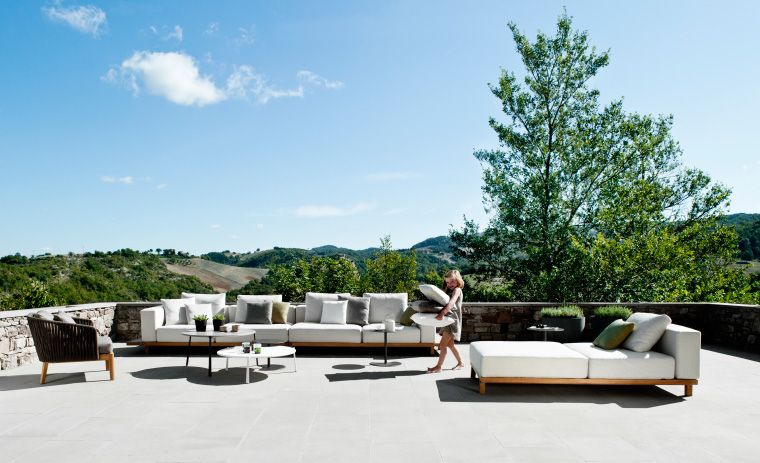 Outdoor modular seating with teak base: Vis à Vis Sofa by Tribù ...