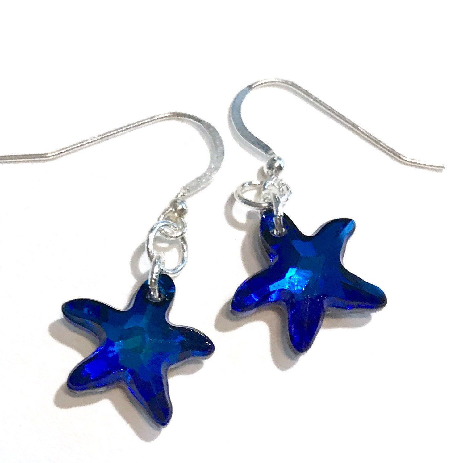Bermuda Blue Swarovski Crystal Starfish Earrings Coordinating Necklace Also Available