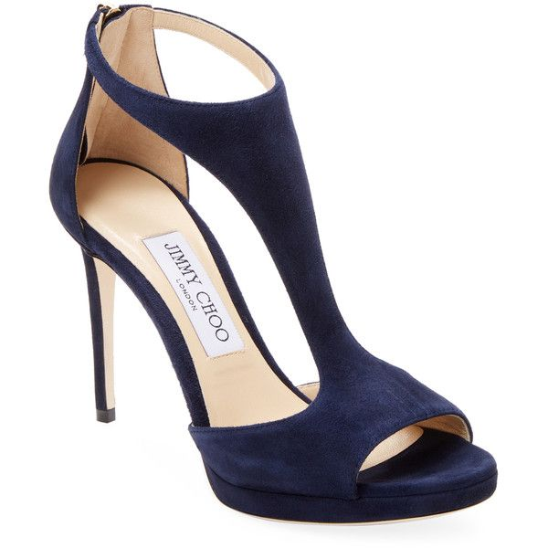 Jimmy Choo Women's Velvet Pumps - Dark Blue/Navy, Size 36 ($679) ❤ liked on  Polyvore featuring shoes, pumps, navy blue high heel shoes, navy pumps,…