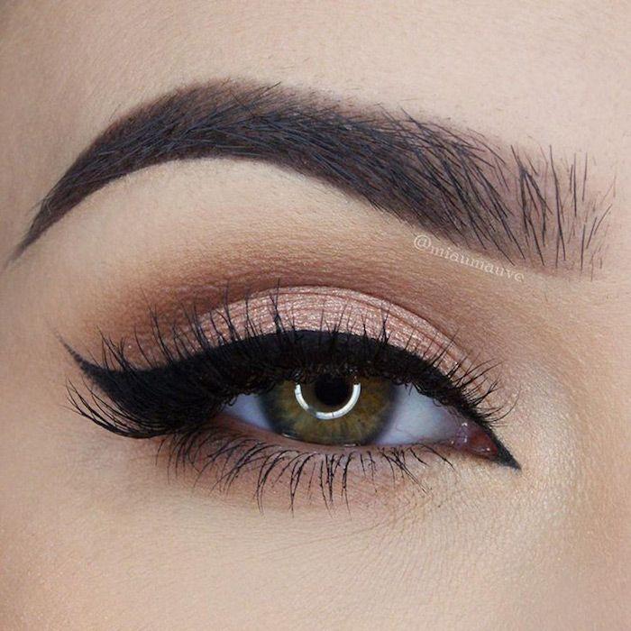 Photo of make-up eyes, silverster makeup in rose gold, black eyeliner – hairstyles