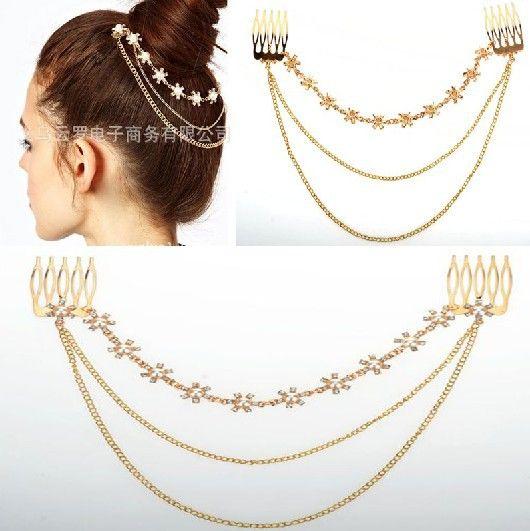Envío gratis de boho estilo de europa, la cadena de metal del pelo borla con incrustaciones de joyería de la