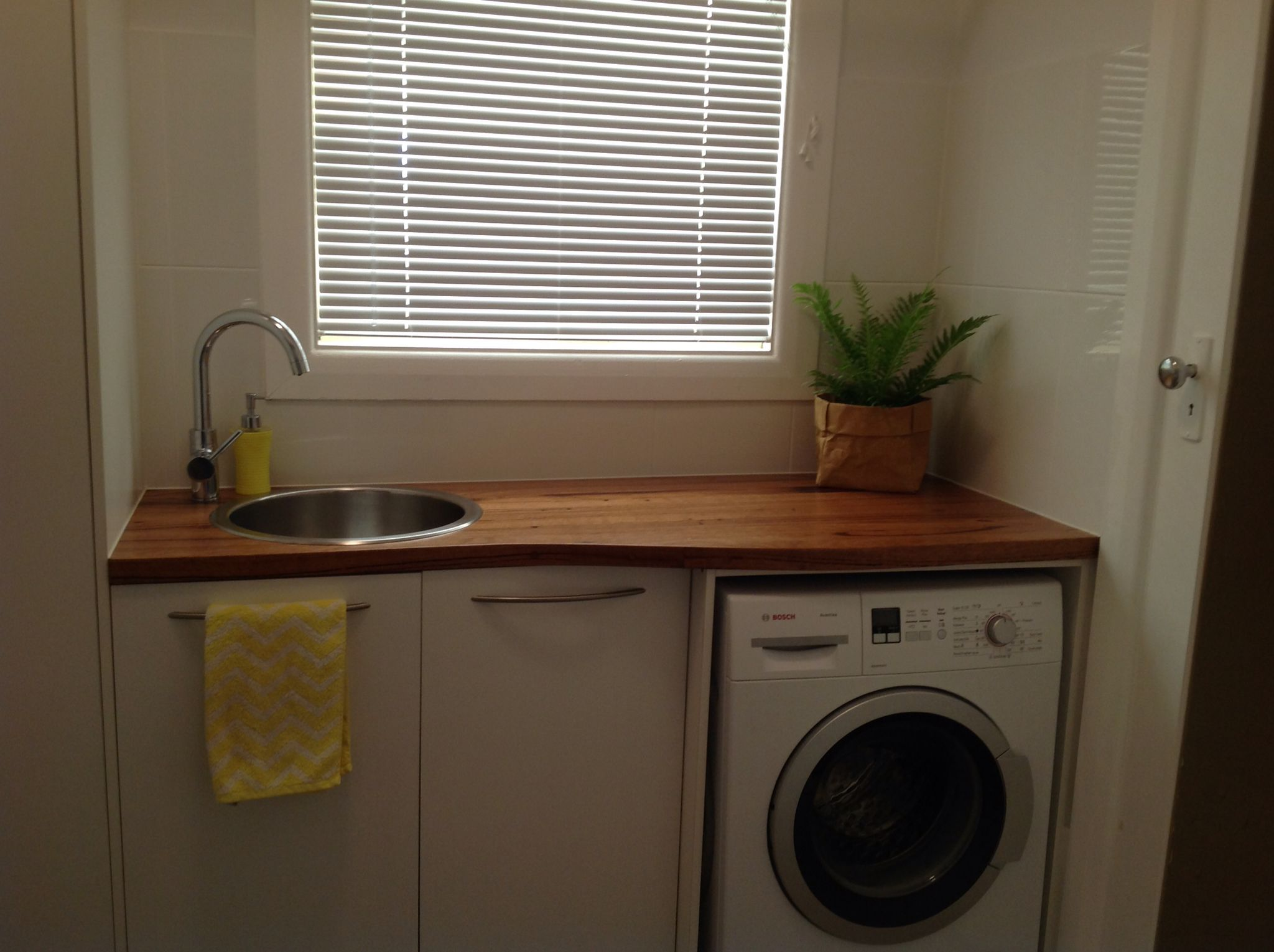 My Laundry Recycled Timber Bench Made From Old Railway Sleepers Laundry Design Laundry Makeover Laundry In Bathroom