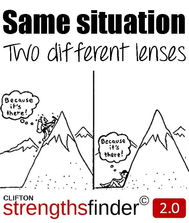 Same situation, two different lenses. (StrengthsFinder