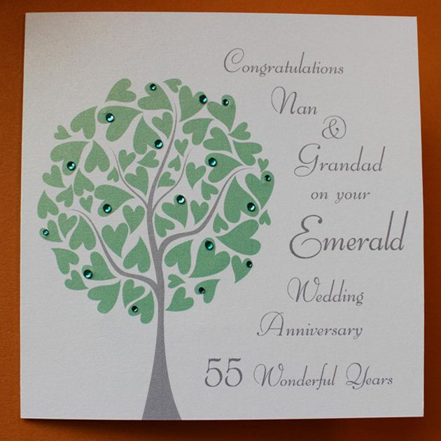 Emerald Wedding Anniversary Gifts: Personalised EMERALD Wedding Anniversary Card