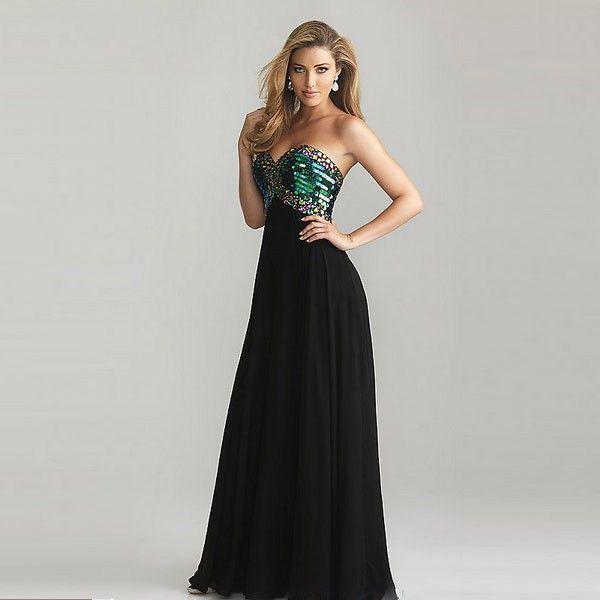 Schwarzes Kleid mit farbigen Pailletten Büste Größe XXL ...