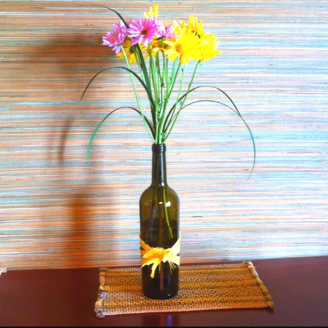 Made me a wine bottle vase and showing off my grasscloth wallpaper that my handy hubby helped me put up! :)