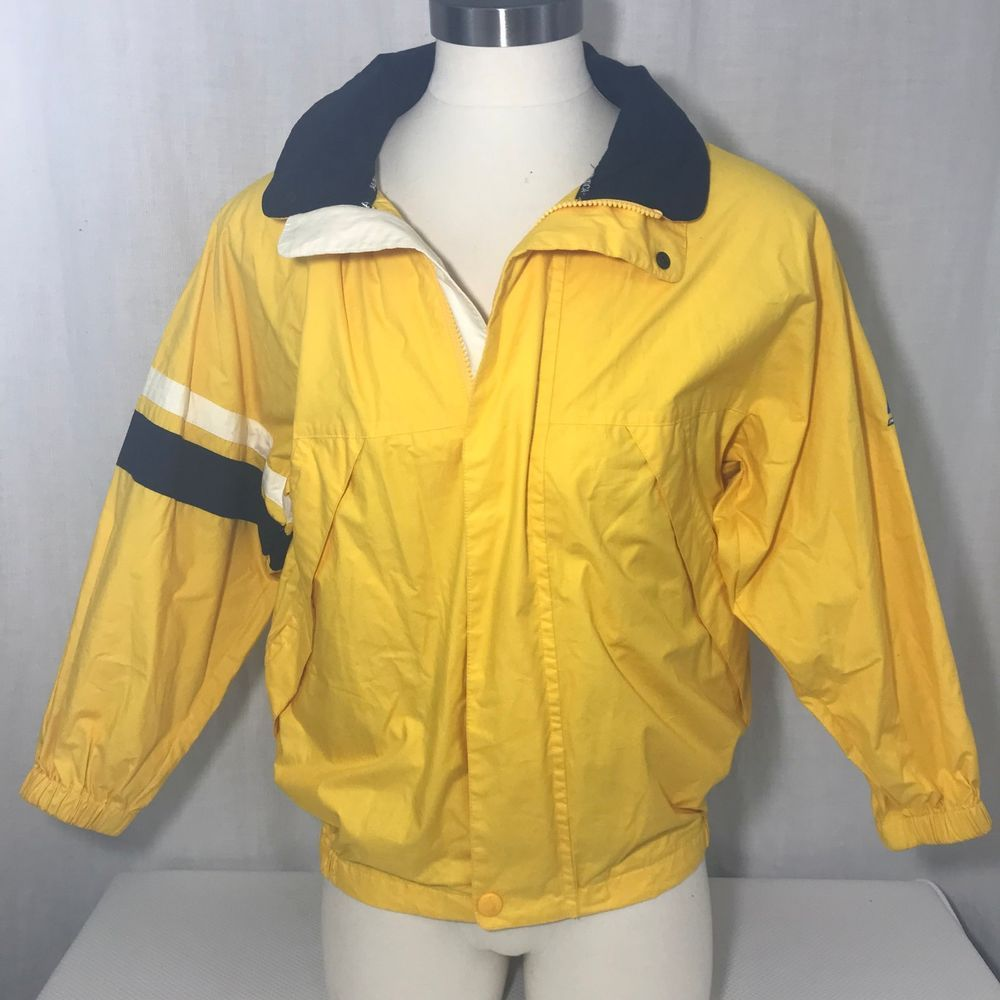 Vtg 90s Nautica Yellow Zip Cotton Windbreaker Jacket S Hooded Logo Sailboat   Nautica  Windbreaker 67f0fd2299
