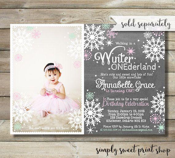 Winter Wonderland Onederland Chili Bar by SimplySweetPrintShop 1st - invitation for 1st birthday party girl
