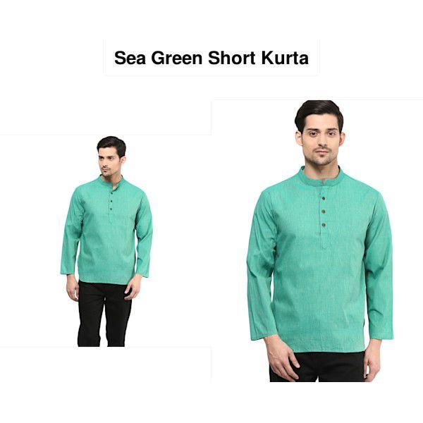 Men/'s Traditional Soild Turquoise Cotton Short Full Sleeves Casual Wear Kurta