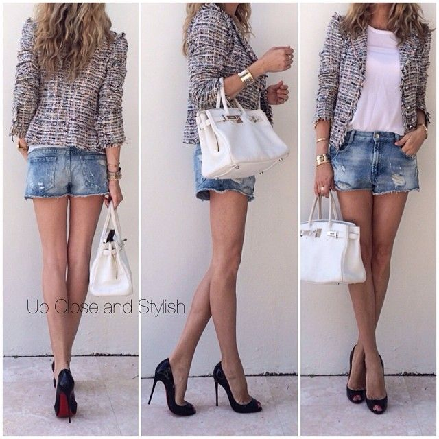 Chanel tweed jacket, Louboutin heels and Hermes Birkin - Up Close ...
