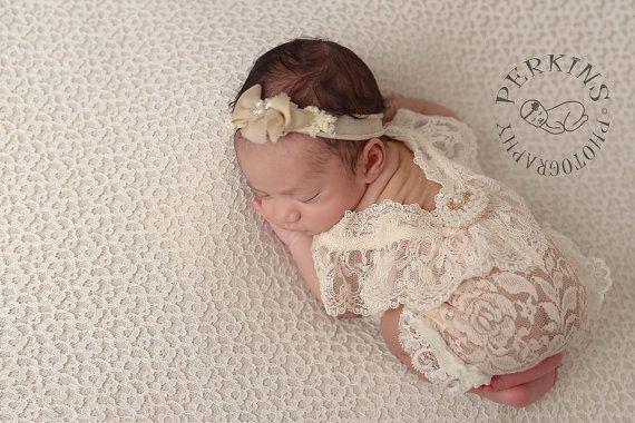 6e9d605f117 Newborn Romper Prop Lace Romper Prop Light Beige Newborn