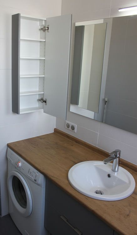 integrer machine a laver dans salle de bain o cacher le lavelinge with integrer machine a laver. Black Bedroom Furniture Sets. Home Design Ideas