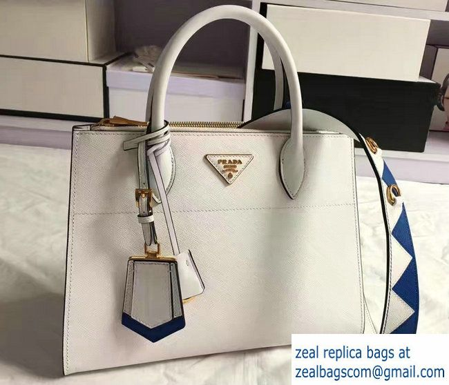 80cbdfc12b88c6 Prada Paradigme Saffiano And Calf Leather Bag 1BA102 White/Sea Blue With  Embellishments On The Shoulder Strap 2017