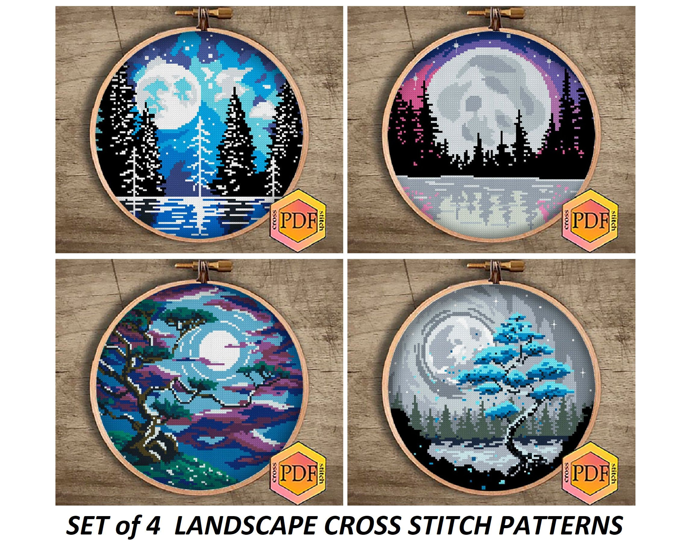 Set Landscape Modern Cross Stitch Pattern PDF, Tree Cross Stitch Moon Landscape Counted Chart Watercolor Embroidery Nature Instant Download