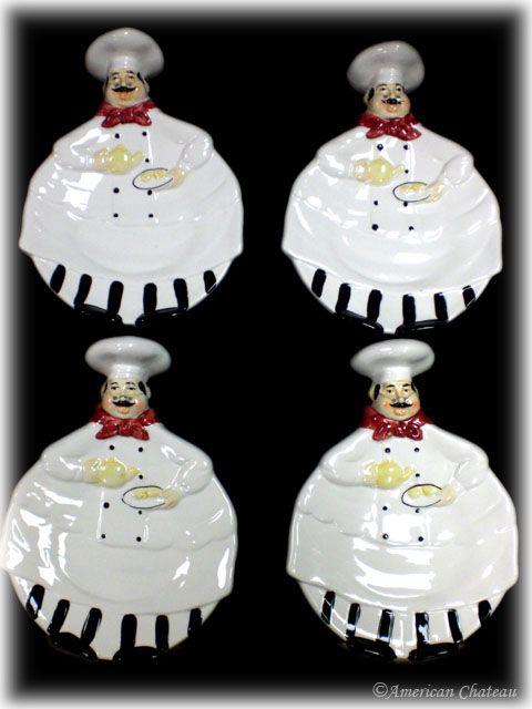 4 Fat French Chef Plates Decorating Kitchen Ideas Chef Kitchen