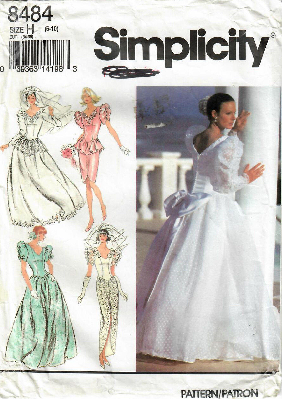 1990s simplicity 8484 vintage sewing pattern misses bridal