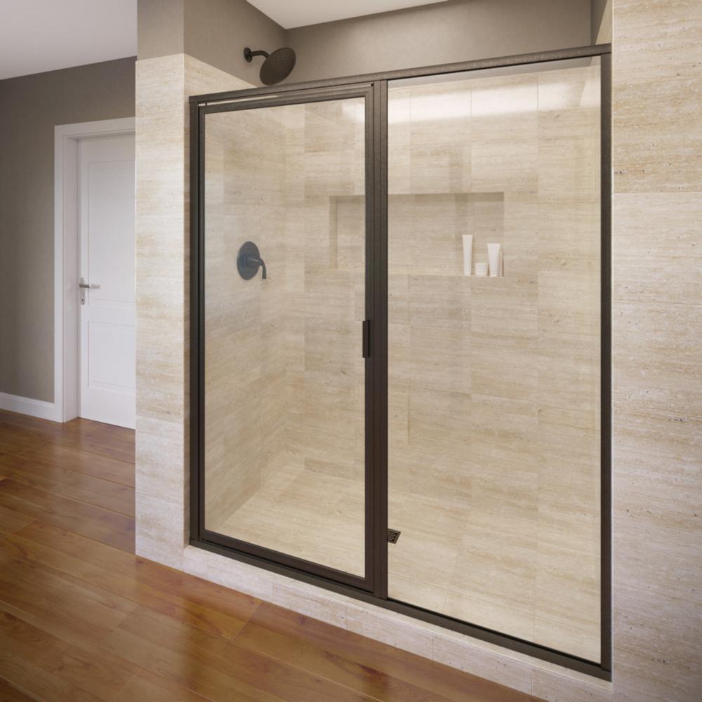 Basco Deluxe 47 In X 68 5 8 In Framed Pivot Shower Door In Oil Rubbed Bronze With Aquaglidex In 2020 Shower Doors Frameless Hinged Shower Door Frameless Shower Doors