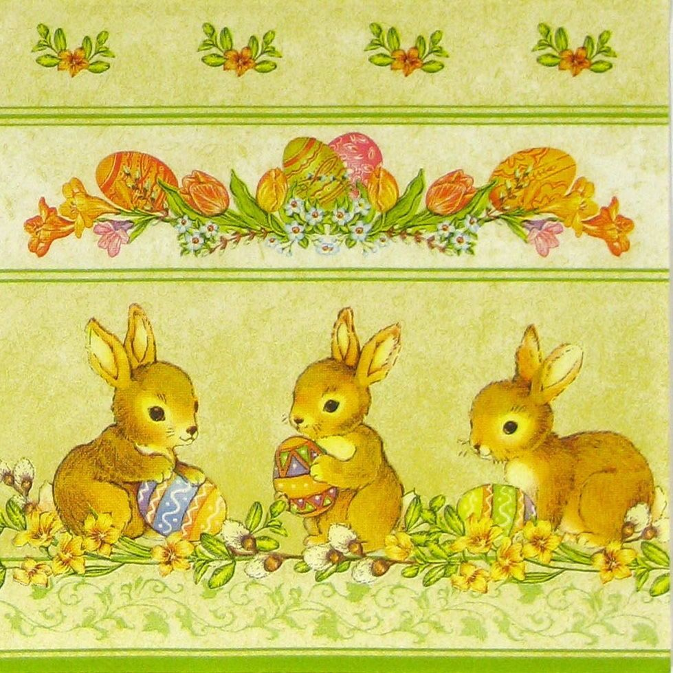 4 Vintage Paper Napkins for Decoupage Lunch Decopatch Party Craft Easter Basket