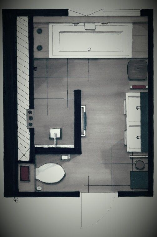 Photo of A floor plan of the bathroom