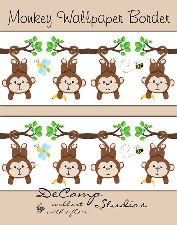monkey wallpaper border wall decals baby boy jungle safari nursery decor kids room childrens cute animals bedroom bee dragonfly art stickers - Monkey Bedroom Decor